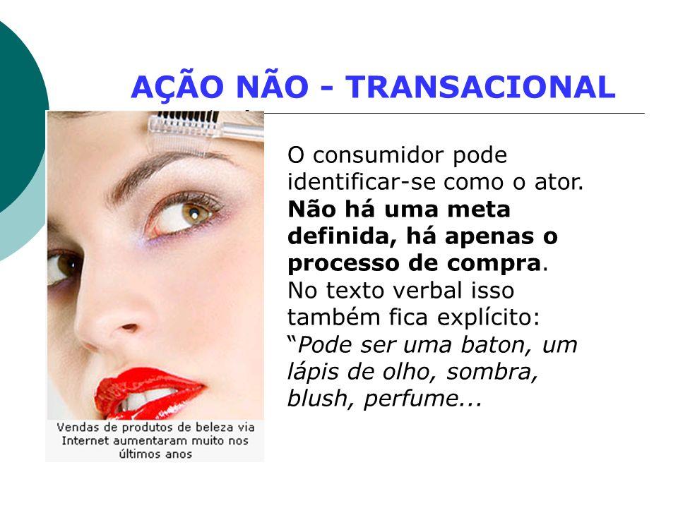 AÇÃO NÃO - TRANSACIONAL O consumidor pode identificar-se como o ator. Não há uma meta definida, há apenas o processo de compra. No texto verbal isso t