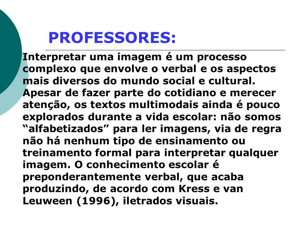 PROFESSORES: Interpretar uma imagem é um processo complexo que envolve o verbal e os aspectos mais diversos do mundo social e cultural. Apesar de faze