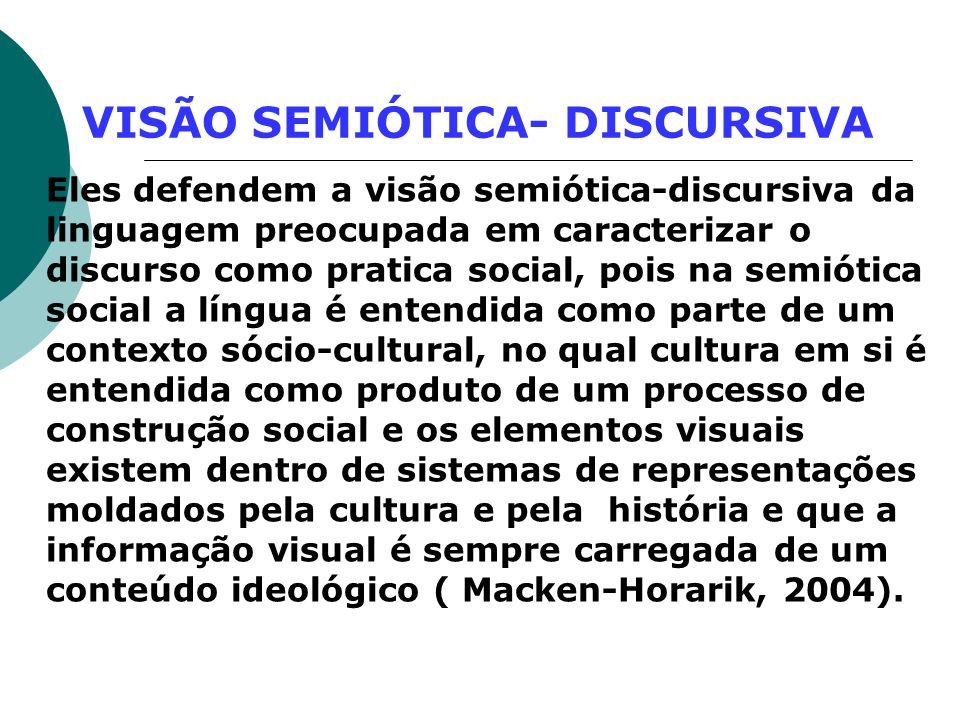 VISÃO SEMIÓTICA- DISCURSIVA Eles defendem a visão semiótica-discursiva da linguagem preocupada em caracterizar o discurso como pratica social, pois na
