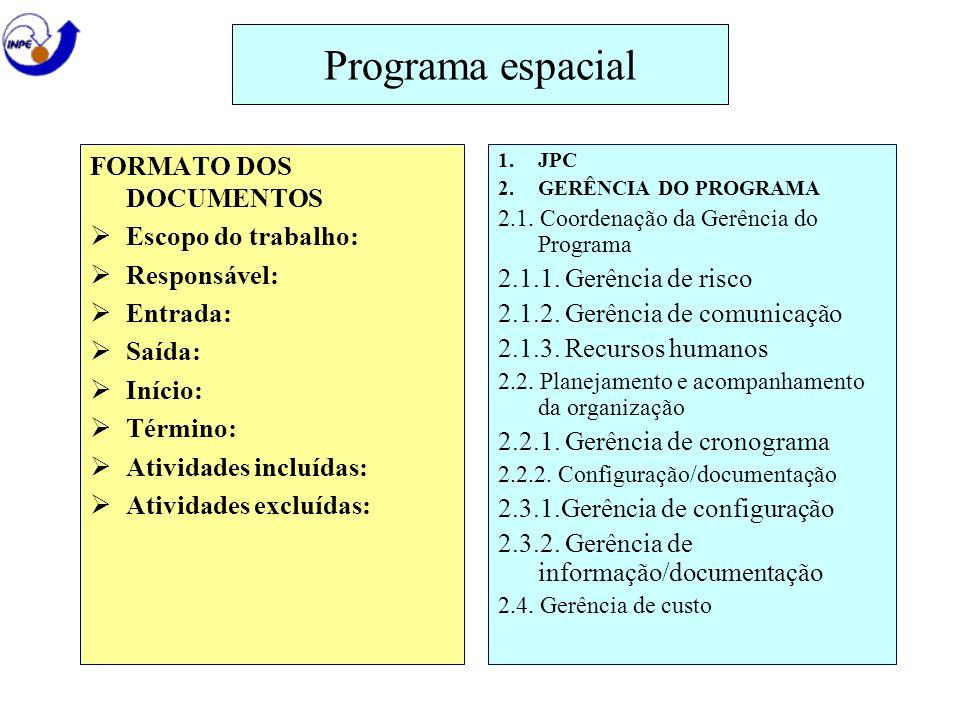 Programa espacial FORMATO DOS DOCUMENTOS Escopo do trabalho: Responsável: Entrada: Saída: Início: Término: Atividades incluídas: Atividades excluídas: