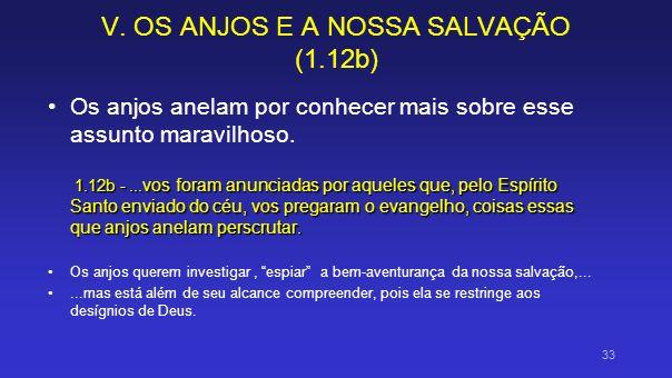 V. OS ANJOS E A NOSSA SALVAÇÃO (1.12b) Os anjos anelam por conhecer mais sobre esse assunto maravilhoso. 1.12b -... vos foram anunciadas por aqueles q