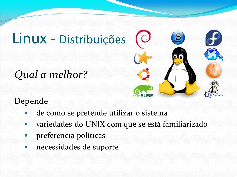 Linux - Distribuições Qual a melhor? Depende de como se pretende utilizar o sistema variedades do UNIX com que se está familiarizado preferência polít