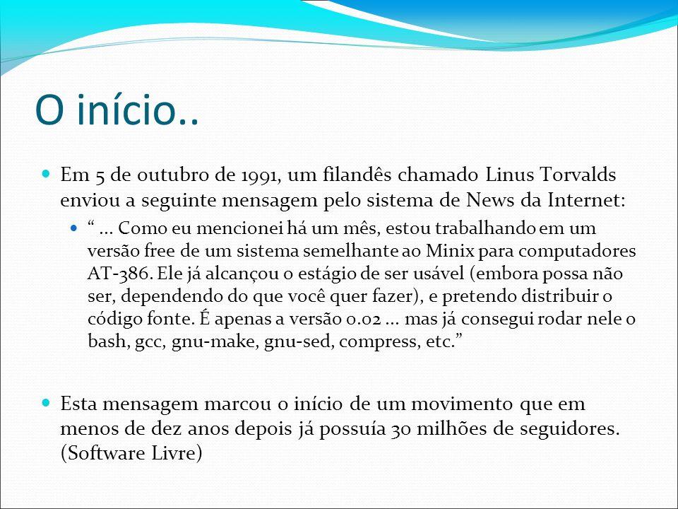 O início.. Em 5 de outubro de 1991, um filandês chamado Linus Torvalds enviou a seguinte mensagem pelo sistema de News da Internet:... Como eu mencion