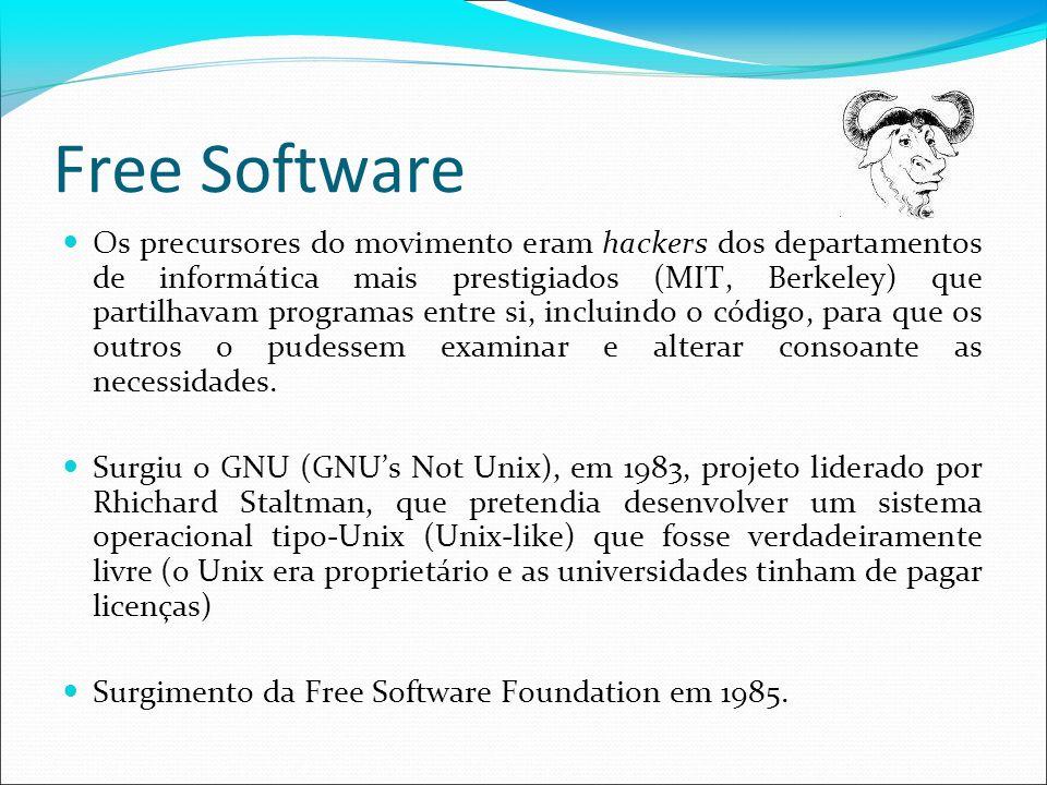Free Software Os precursores do movimento eram hackers dos departamentos de informática mais prestigiados (MIT, Berkeley) que partilhavam programas en