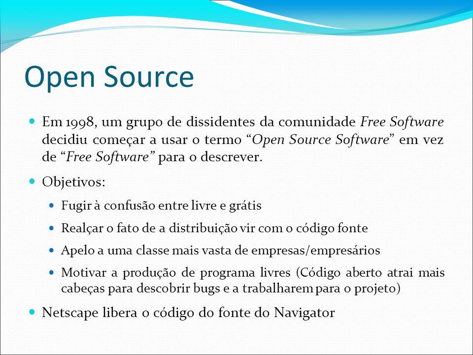Open Source Em 1998, um grupo de dissidentes da comunidade Free Software decidiu começar a usar o termo Open Source Software em vez de Free Software p