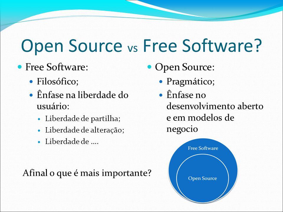 Open Source vs Free Software? Free Software: Filosófico; Ênfase na liberdade do usuário: Liberdade de partilha; Liberdade de alteração; Liberdade de …