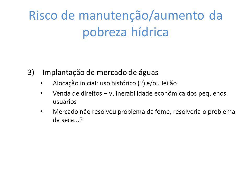 3)Implantação de mercado de águas Alocação inicial: uso histórico (?) e/ou leilão Venda de direitos – vulnerabilidade econômica dos pequenos usuários