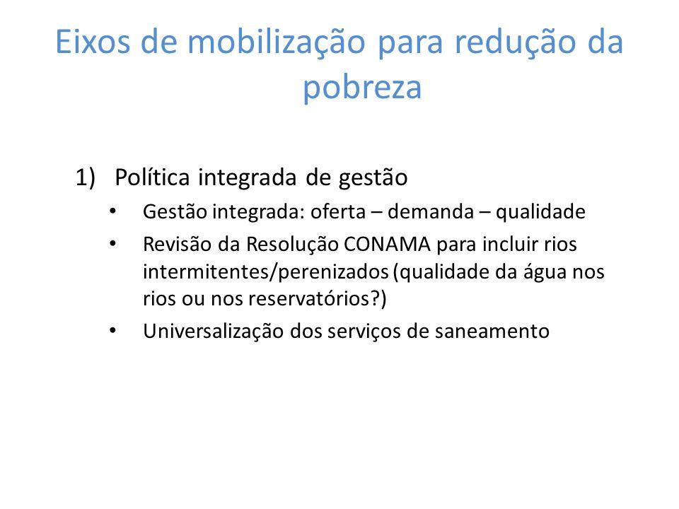 Eixos de mobilização para redução da pobreza 1)Política integrada de gestão Gestão integrada: oferta – demanda – qualidade Revisão da Resolução CONAMA