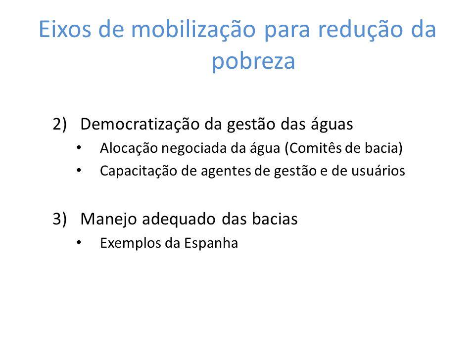 2)Democratização da gestão das águas Alocação negociada da água (Comitês de bacia) Capacitação de agentes de gestão e de usuários 3)Manejo adequado da