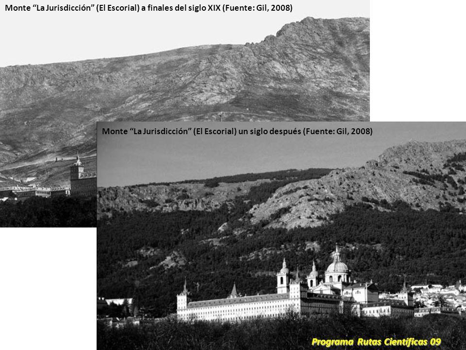 Monte La Jurisdicción (El Escorial) a finales del siglo XIX (Fuente: Gil, 2008) Monte La Jurisdicción (El Escorial) un siglo después (Fuente: Gil, 200