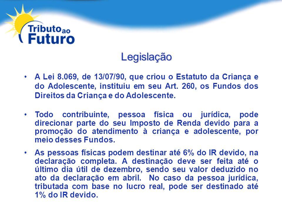Legislação A Lei 8.069, de 13/07/90, que criou o Estatuto da Criança e do Adolescente, instituiu em seu Art. 260, os Fundos dos Direitos da Criança e