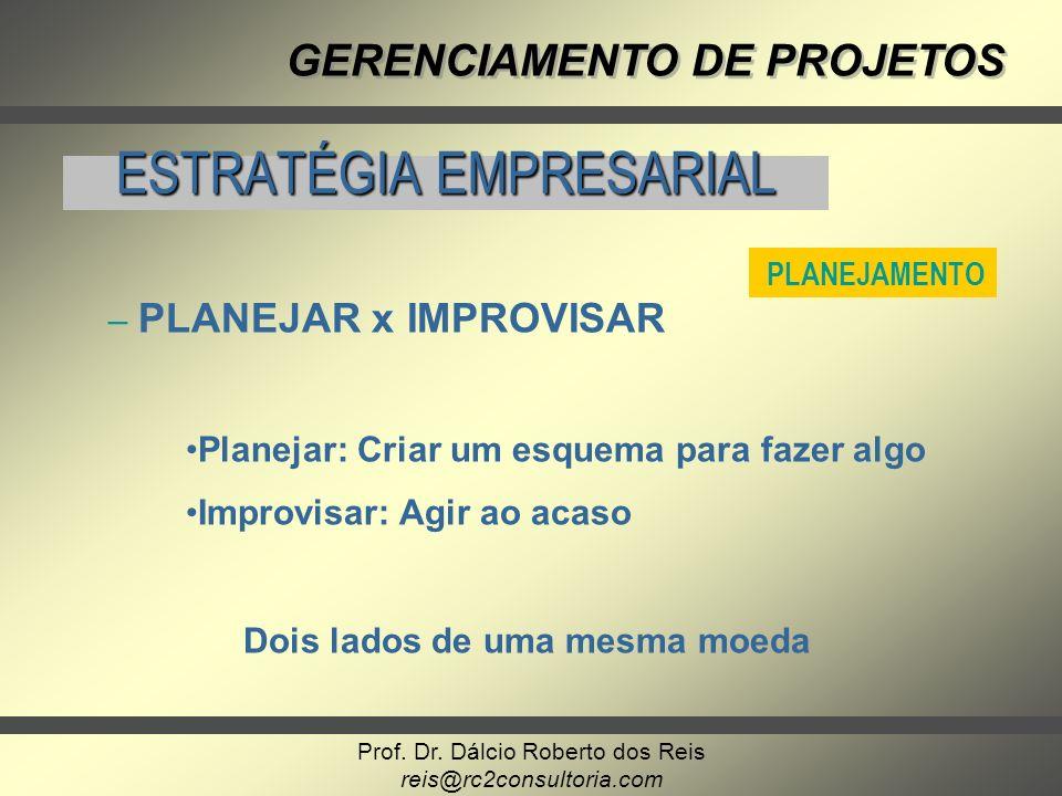 Prof. Dr. Dálcio Roberto dos Reis reis@rc2consultoria.com GERENCIAMENTO DE PROJETOS ESTRATÉGIA EMPRESARIAL PLANEJAMENTO – – PLANEJAR x IMPROVISAR Plan