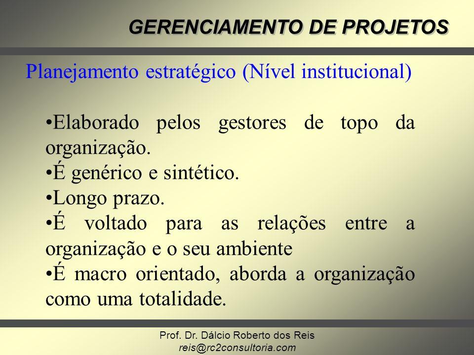 Prof. Dr. Dálcio Roberto dos Reis reis@rc2consultoria.com GERENCIAMENTO DE PROJETOS Planejamento estratégico (Nível institucional) Elaborado pelos ges