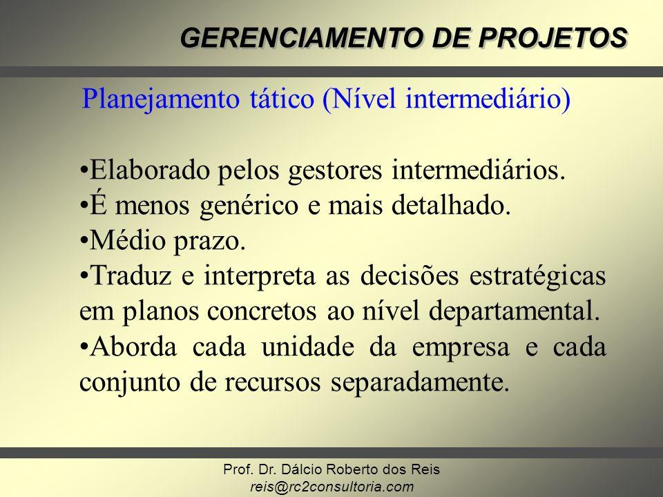 Prof. Dr. Dálcio Roberto dos Reis reis@rc2consultoria.com GERENCIAMENTO DE PROJETOS Planejamento tático (Nível intermediário) Elaborado pelos gestores