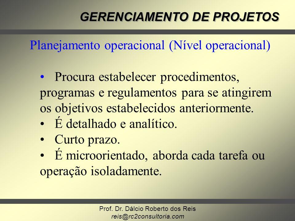 Prof. Dr. Dálcio Roberto dos Reis reis@rc2consultoria.com GERENCIAMENTO DE PROJETOS Planejamento operacional (Nível operacional) Procura estabelecer p