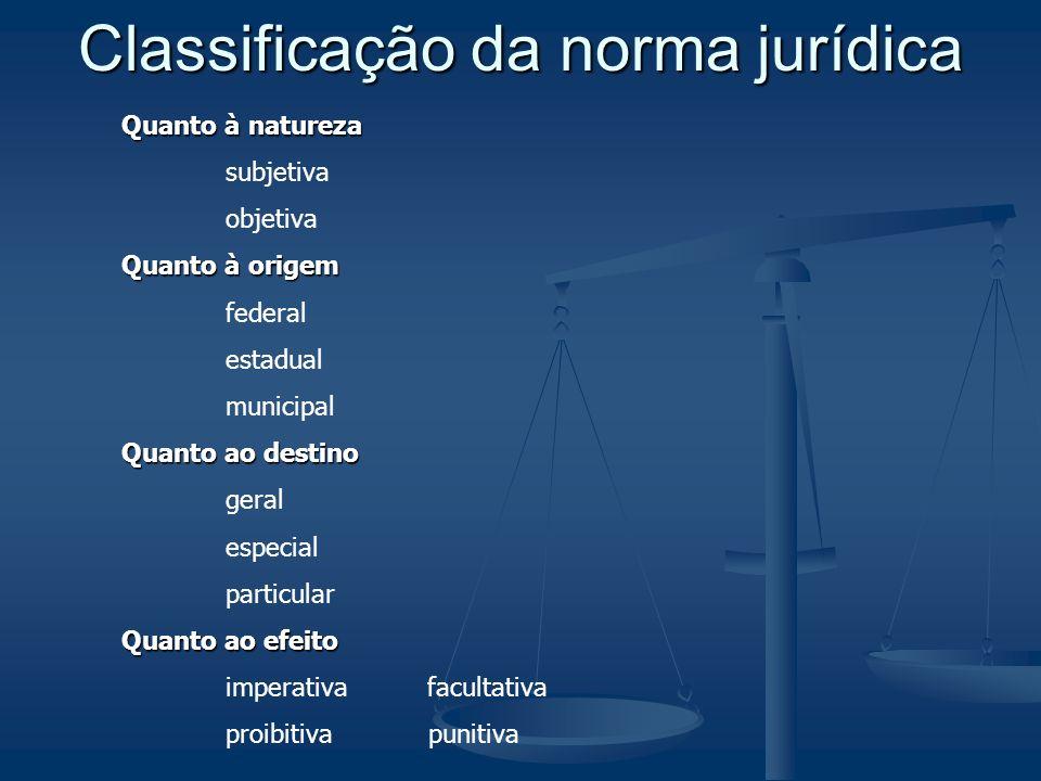 Classificação da norma jurídica Quanto à natureza subjetiva objetiva Quanto à origem federal estadual municipal Quanto ao destino geral especial parti
