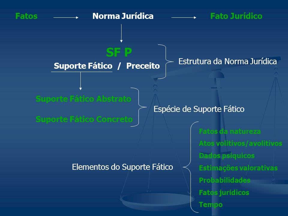 Norma JurídicaFatosFato Jurídico Suporte Fático / Preceito SF P Suporte Fático Abstrato Suporte Fático Concreto Espécie de Suporte Fático Estrutura da