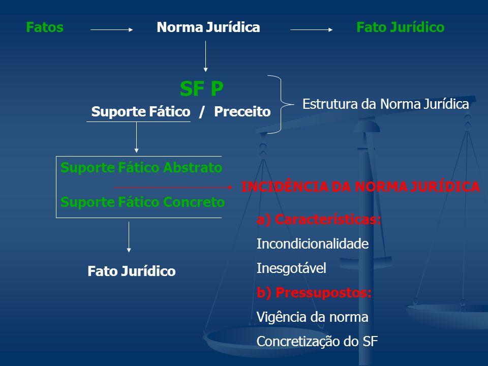 Norma JurídicaFatosFato Jurídico Suporte Fático / Preceito SF P Suporte Fático Abstrato Suporte Fático Concreto INCIDÊNCIA DA NORMA JURÍDICA Estrutura