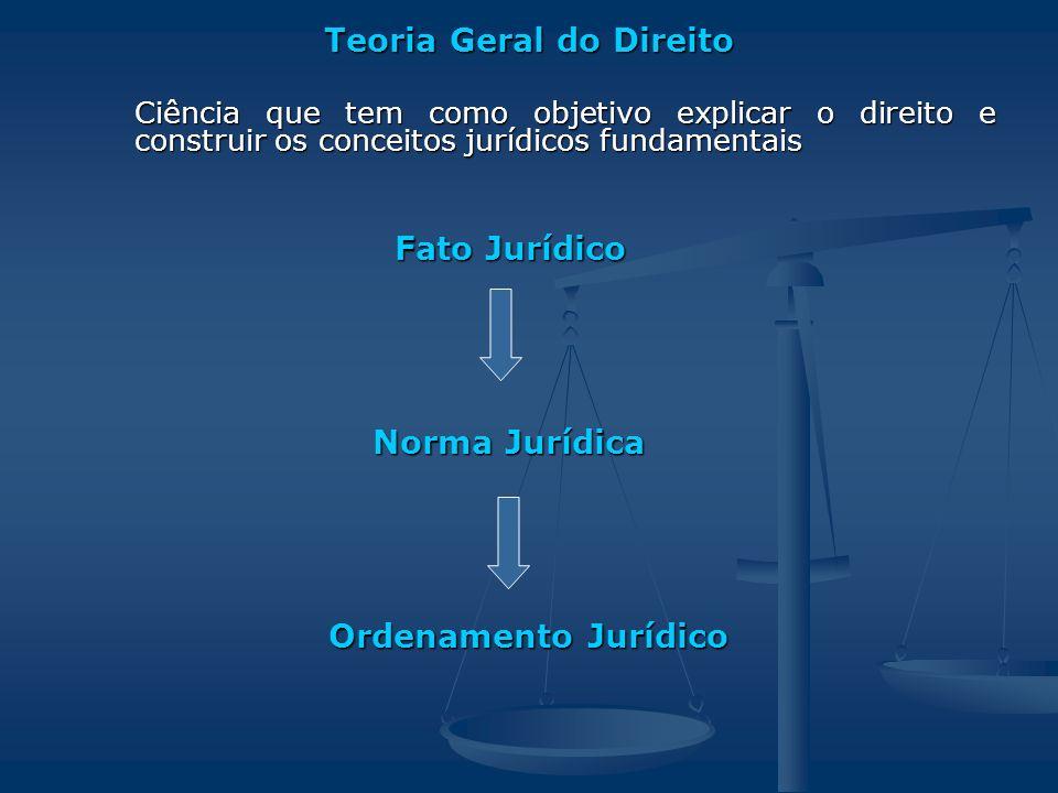 Teoria Geral do Direito Ciência que tem como objetivo explicar o direito e construir os conceitos jurídicos fundamentais Fato Jurídico Fato Jurídico N