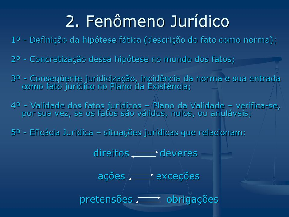 2. Fenômeno Jurídico 2. Fenômeno Jurídico 1º - Definição da hipótese fática (descrição do fato como norma); 2º - Concretização dessa hipótese no mundo