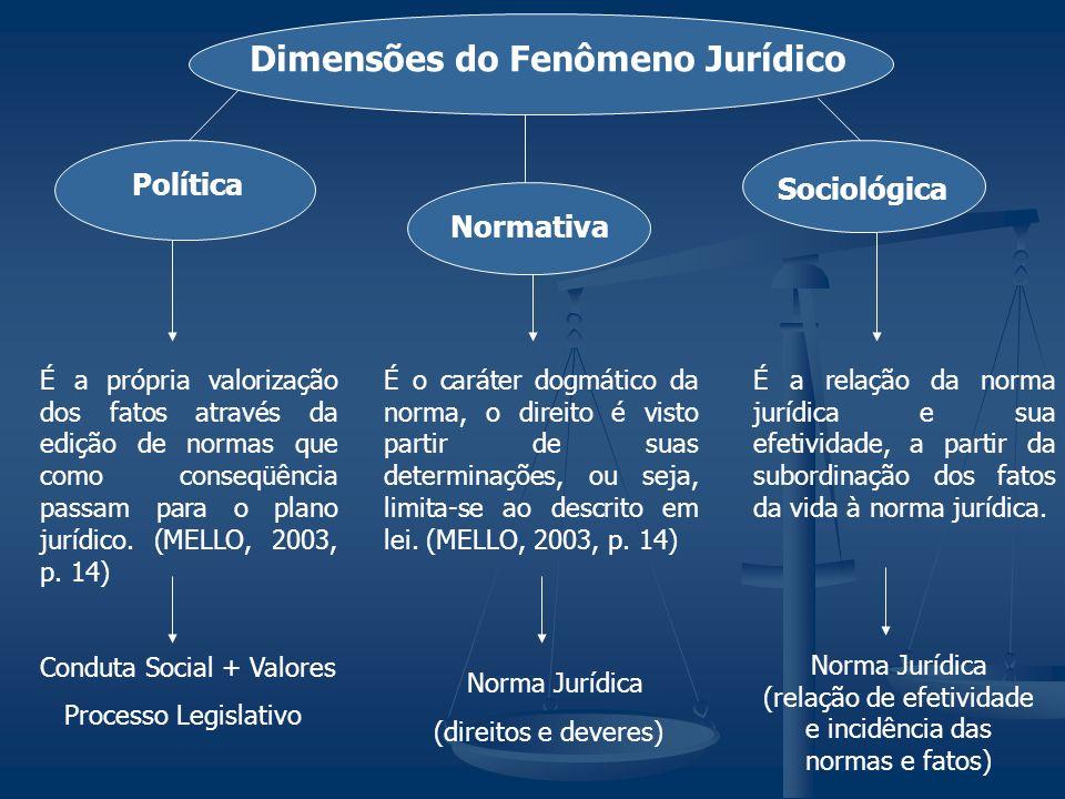 Dimensões do Fenômeno Jurídico Política Normativa Sociológica É a própria valorização dos fatos através da edição de normas que como conseqüência pass