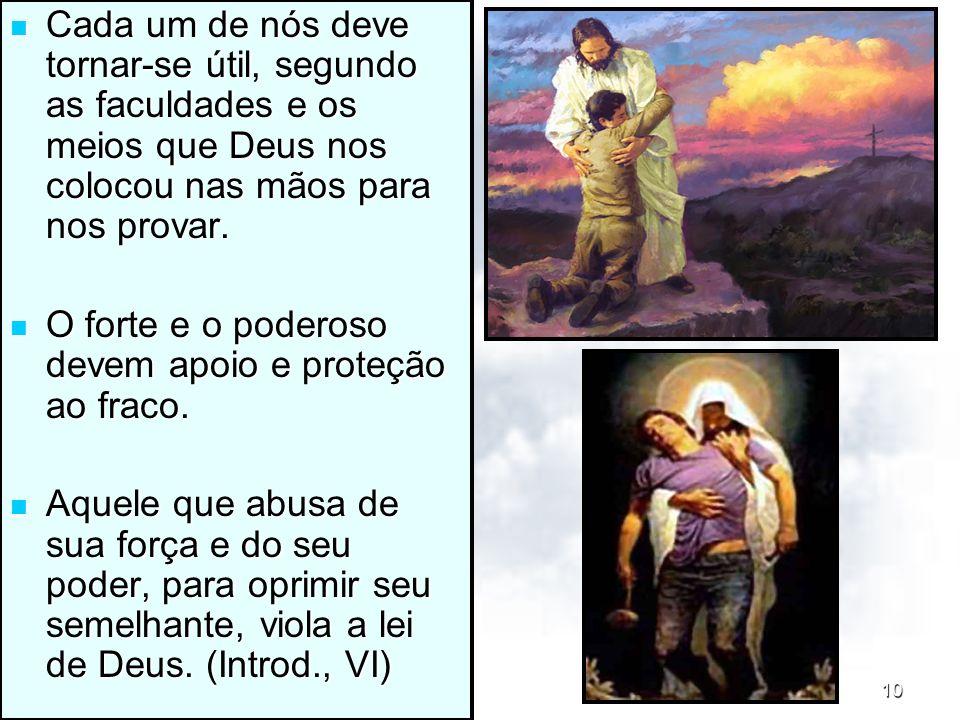 14/11/201310 Cada um de nós deve tornar-se útil, segundo as faculdades e os meios que Deus nos colocou nas mãos para nos provar. Cada um de nós deve t
