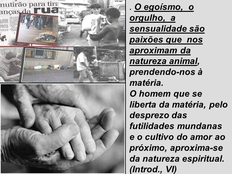 14/11/20139. O egoísmo, o orgulho, a sensualidade são paixões que nos aproximam da natureza animal, prendendo-nos à matéria. O homem que se liberta da