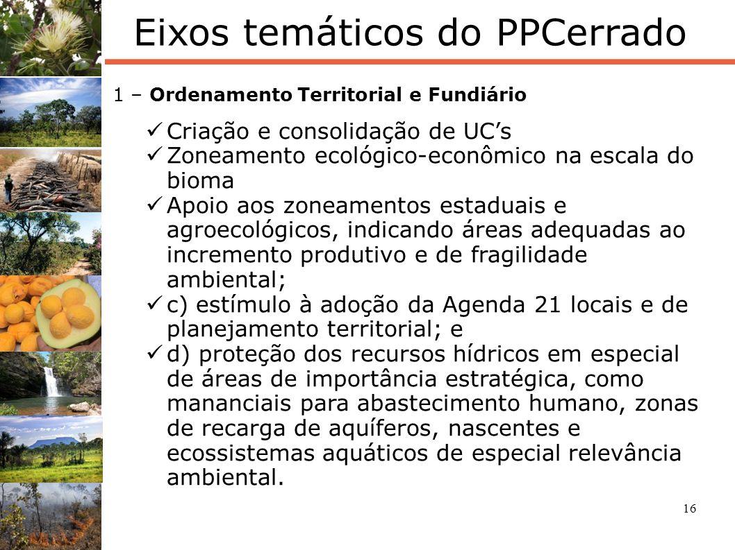 16 Eixos temáticos do PPCerrado 1 – Ordenamento Territorial e Fundiário Criação e consolidação de UCs Zoneamento ecológico-econômico na escala do biom