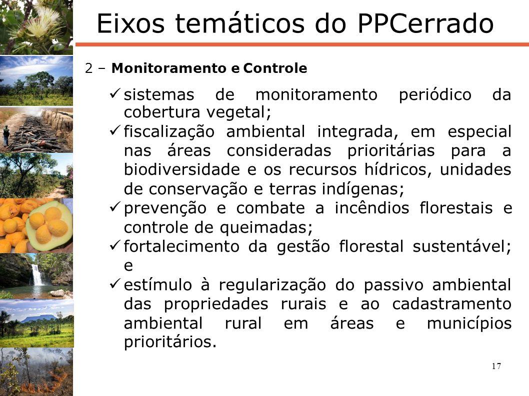 17 Eixos temáticos do PPCerrado 2 – Monitoramento e Controle sistemas de monitoramento periódico da cobertura vegetal; fiscalização ambiental integrad