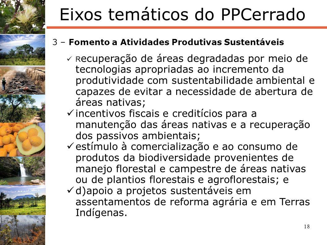 18 Eixos temáticos do PPCerrado 3 – Fomento a Atividades Produtivas Sustentáveis R ecuperação de áreas degradadas por meio de tecnologias apropriadas