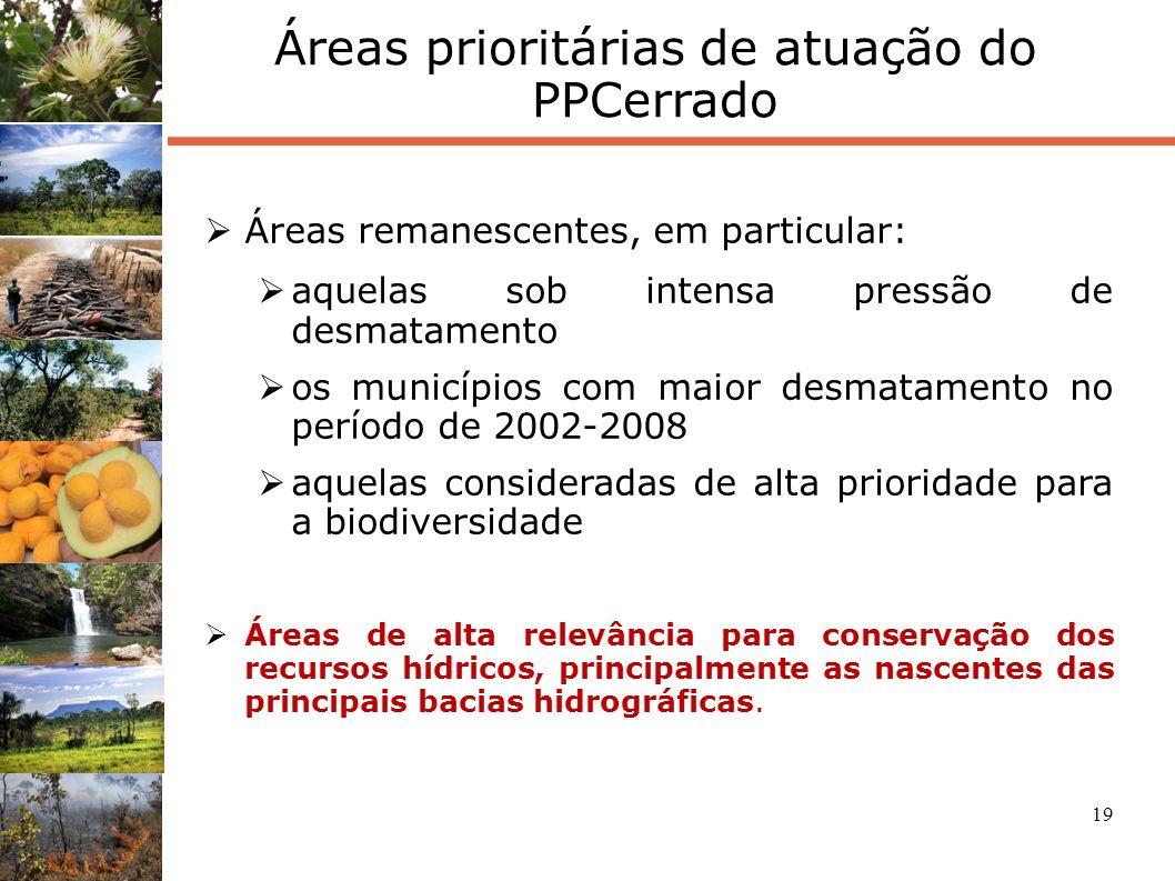 19 Áreas prioritárias de atuação do PPCerrado Áreas remanescentes, em particular: aquelas sob intensa pressão de desmatamento os municípios com maior