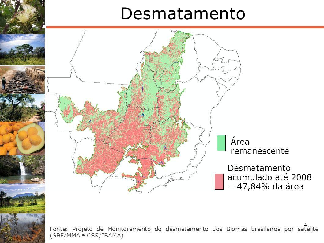 4 Desmatamento Fonte: Projeto de Monitoramento do desmatamento dos Biomas brasileiros por satélite (SBF/MMA e CSR/IBAMA) Desmatamento acumulado até 20