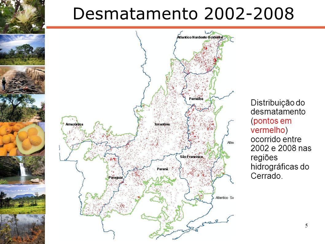 5 Desmatamento 2002-2008 Distribuição do desmatamento (pontos em vermelho) ocorrido entre 2002 e 2008 nas regiões hidrográficas do Cerrado.