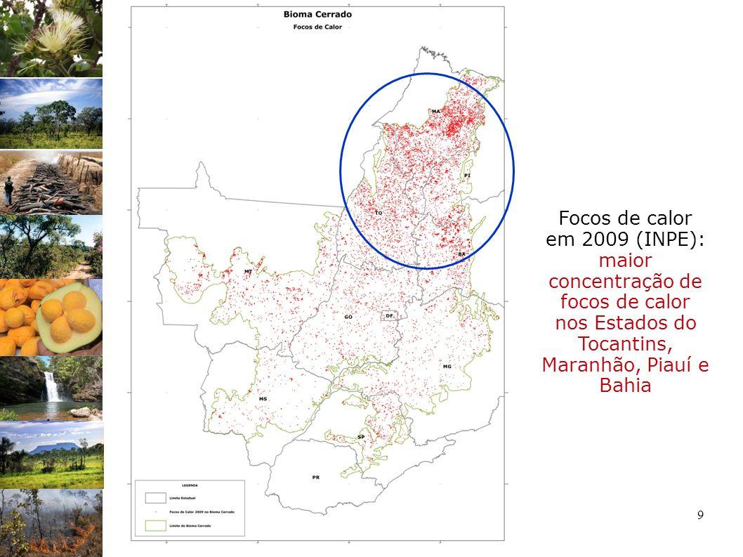 9 Focos de calor em 2009 (INPE): maior concentração de focos de calor nos Estados do Tocantins, Maranhão, Piauí e Bahia