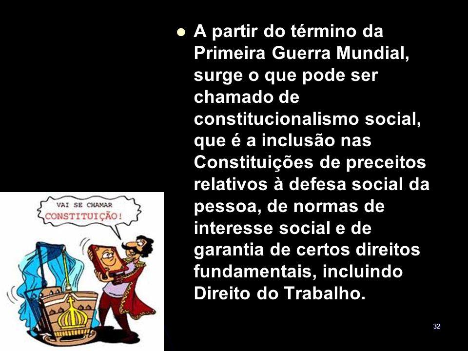 32 A partir do término da Primeira Guerra Mundial, surge o que pode ser chamado de constitucionalismo social, que é a inclusão nas Constituições de pr