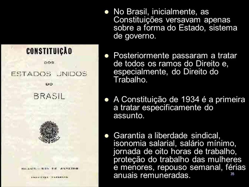 35 No Brasil, inicialmente, as Constituições versavam apenas sobre a forma do Estado, sistema de governo. Posteriormente passaram a tratar de todos os