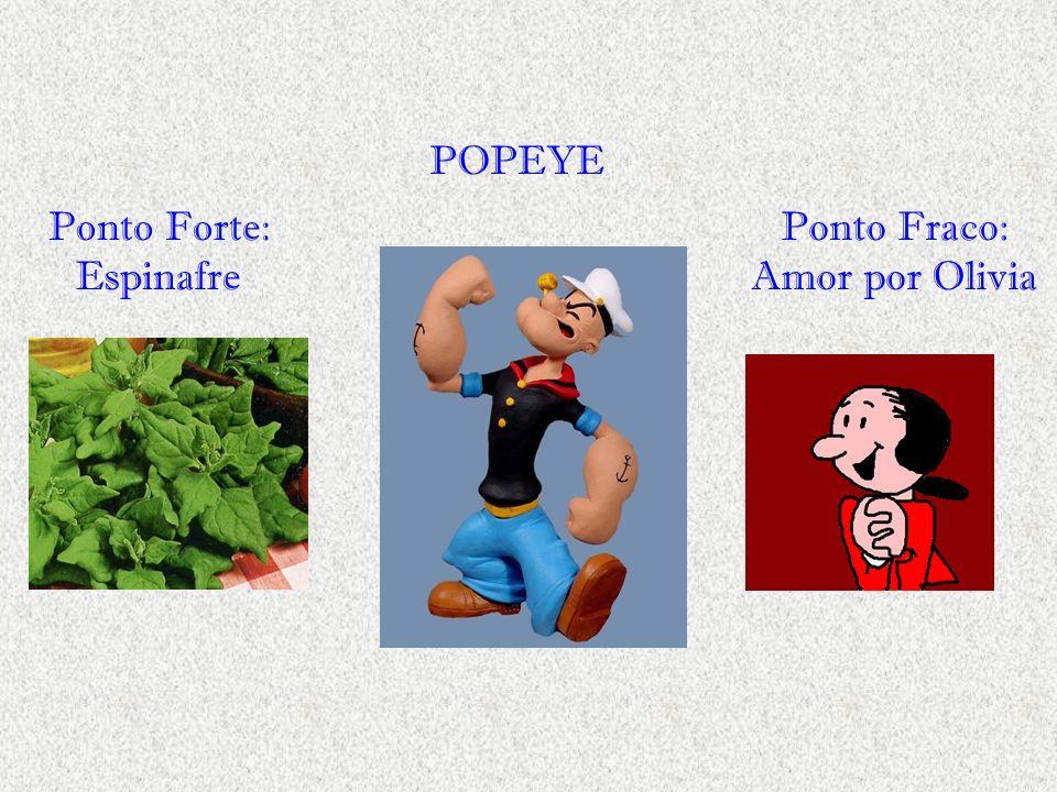 Ponto Forte: Espinafre POPEYE Ponto Fraco: Amor por Olivia