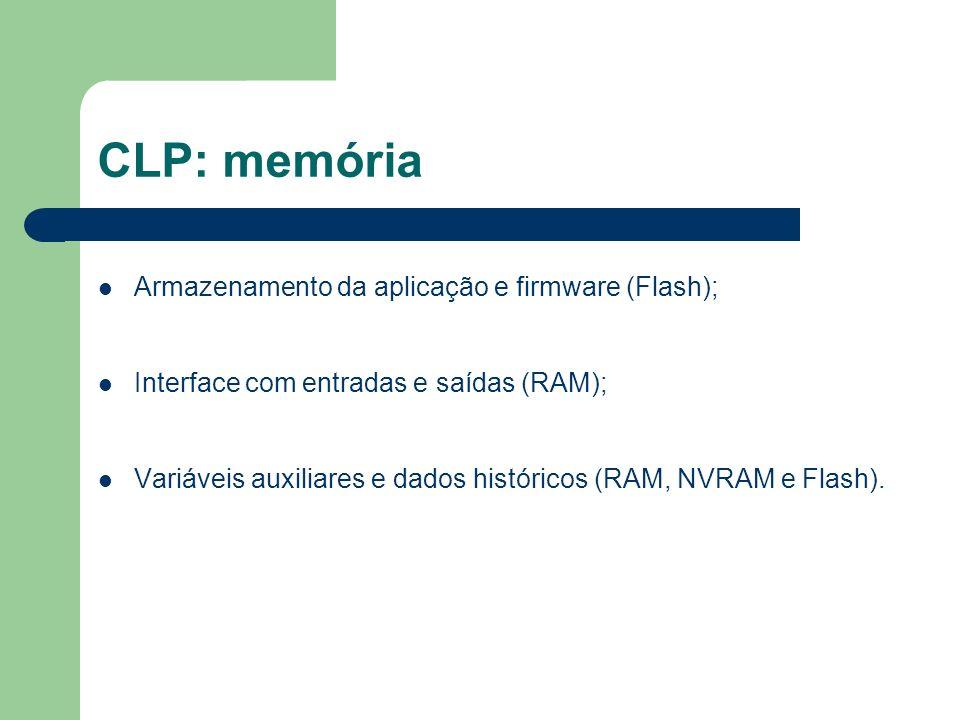 CLP: memória Armazenamento da aplicação e firmware (Flash); Interface com entradas e saídas (RAM); Variáveis auxiliares e dados históricos (RAM, NVRAM