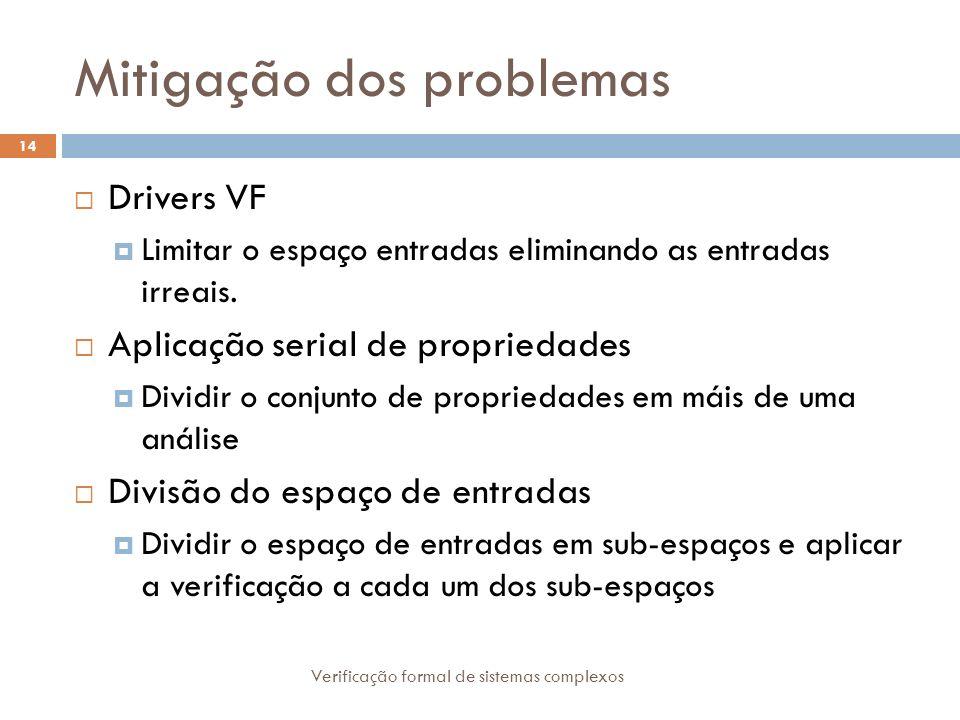 Mitigação dos problemas Verificação formal de sistemas complexos 14 Drivers VF Limitar o espaço entradas eliminando as entradas irreais. Aplicação ser