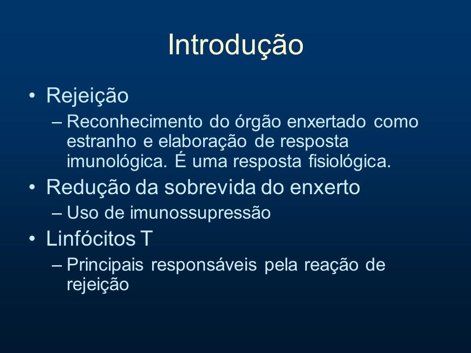 Introdução Rejeição –Reconhecimento do órgão enxertado como estranho e elaboração de resposta imunológica. É uma resposta fisiológica. Redução da sobr