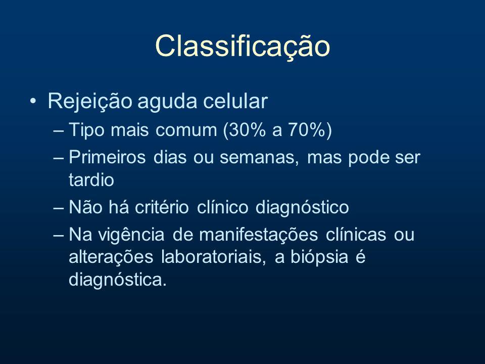 Classificação Rejeição aguda celular –Tipo mais comum (30% a 70%) –Primeiros dias ou semanas, mas pode ser tardio –Não há critério clínico diagnóstico