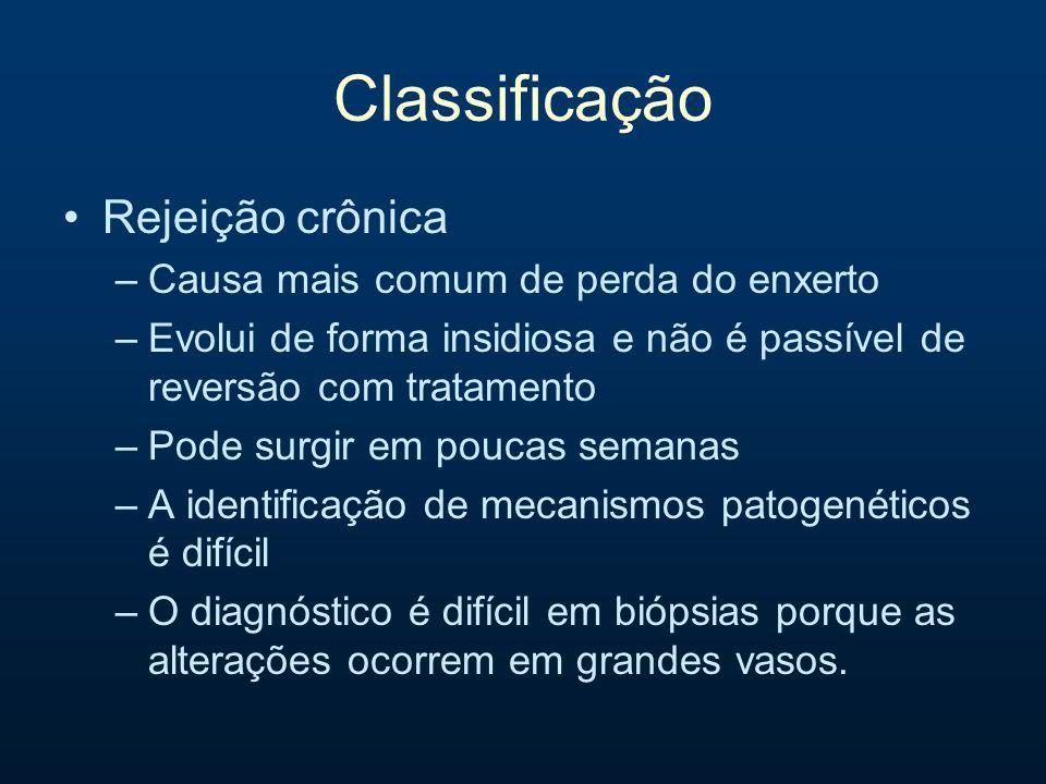 Classificação Rejeição crônica –Causa mais comum de perda do enxerto –Evolui de forma insidiosa e não é passível de reversão com tratamento –Pode surg