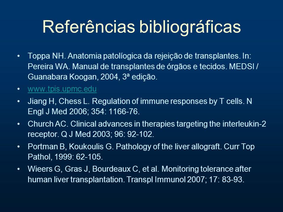Referências bibliográficas Toppa NH. Anatomia patolíogica da rejeição de transplantes. In: Pereira WA. Manual de transplantes de órgãos e tecidos. MED
