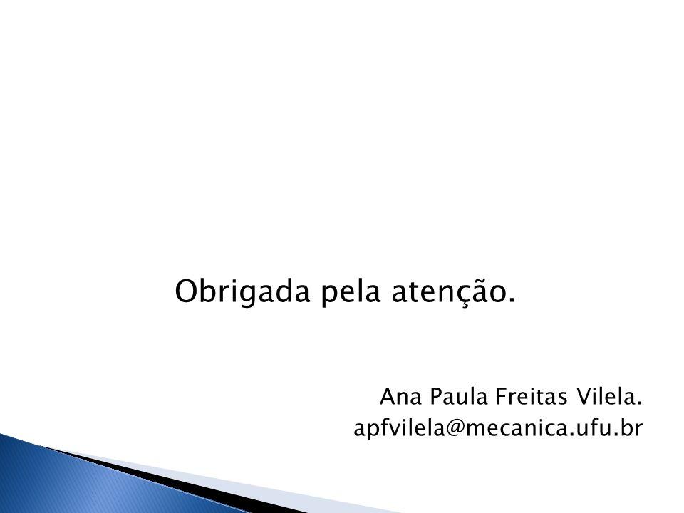 Obrigada pela atenção. Ana Paula Freitas Vilela. apfvilela@mecanica.ufu.br