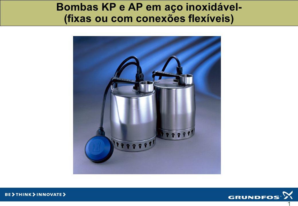 2 Gama KP250 e 350 para aplicações de drenagem AP 12 para aplicações de drenagem AP 35 para aplicaçõeos em efluentes/águas residuais AP 50 para águas residuais e esgoto doméstico Controles para aplicações com uma e duas bombas Medidores de nível Válvulas de retenção Acessórios diversos