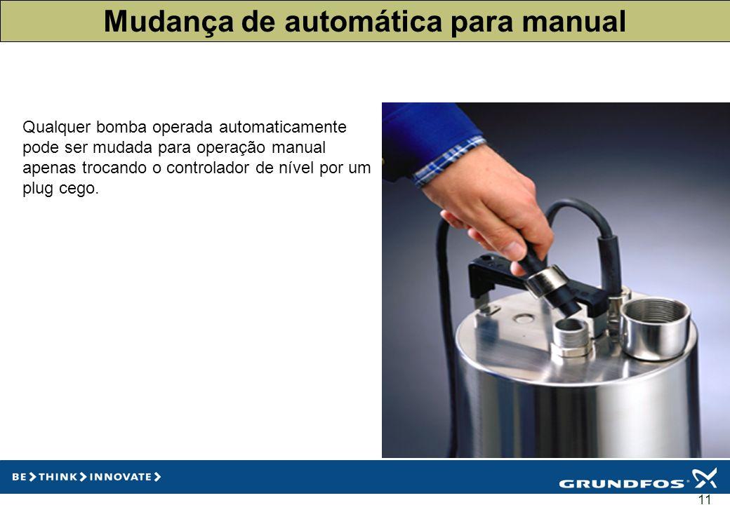 11 Mudança de automática para manual Qualquer bomba operada automaticamente pode ser mudada para operação manual apenas trocando o controlador de níve