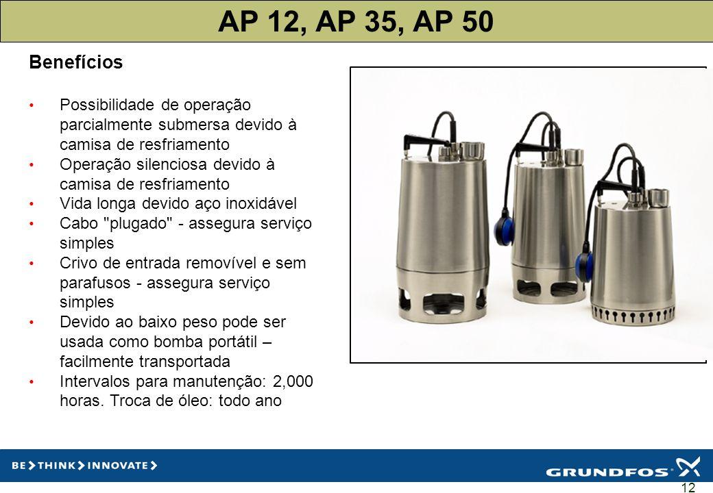 12 AP 12, AP 35, AP 50 Benefícios Possibilidade de operação parcialmente submersa devido à camisa de resfriamento Operação silenciosa devido à camisa