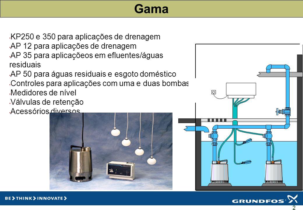 2 Gama KP250 e 350 para aplicações de drenagem AP 12 para aplicações de drenagem AP 35 para aplicaçõeos em efluentes/águas residuais AP 50 para águas