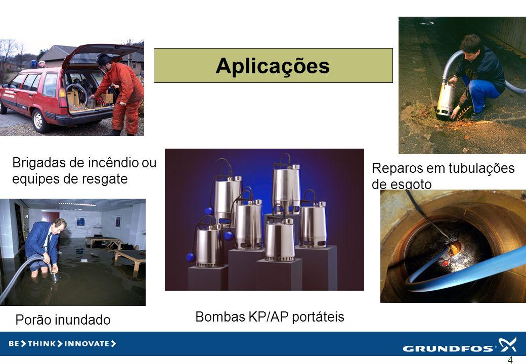 5 Aplicações Lavanderia Processamento de alimentos Bombas KP/AP portáteis Escoamento de água Criação de peixes