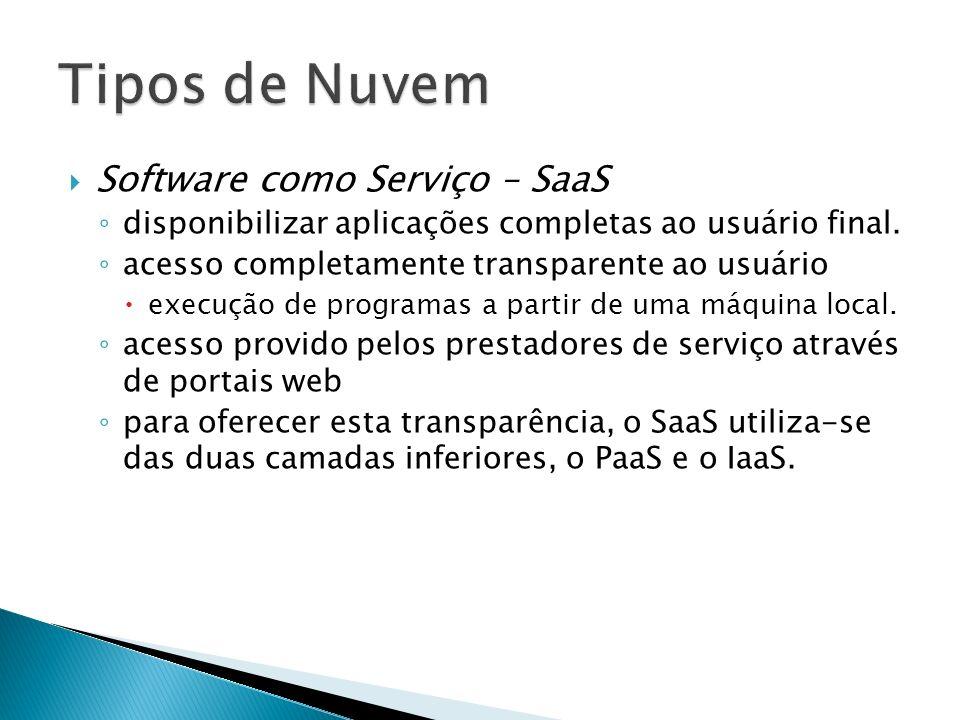 Software como Serviço – SaaS disponibilizar aplicações completas ao usuário final. acesso completamente transparente ao usuário execução de programas